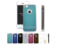 For iPhone 5 5S Aluminum Steel Hard Cover Case with Film Protector +Pen+Cloth- SET0014A
