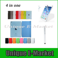 4 in One 1 Set/Lots Magnetic Smart Cover + Crystle Back Case + Screen Protector + Stylus For iPad mini Multi-Color