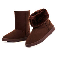 Free shipp 2013 women winter calf-high waterproof real nubuck leather snow boots thickening thermal plush  cotton-padded shoes