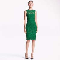 2014 New Sexy Sleeveless Slim Fit Bow Lace Sheath Solid Green/black/white Brief Evening DressesWQZ9352