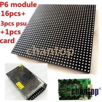 P6 rgb indoor SMD full color 192*192mm 32*32pixels LED Display screen Module 16pcs+1pcs video control card+3pcs power adapter