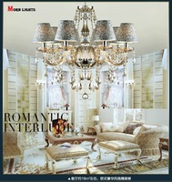 Cognac crystal Chandelier light Bed Room Vintage lamp candle crystal chandelier light with Lamp shade Include 6-8 Arm