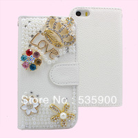 Luxury 3D Bling Crystal Crown Rhinestone Flip Wallet PU Leather Case Cover for iPhone 4 4s For Free Shipping