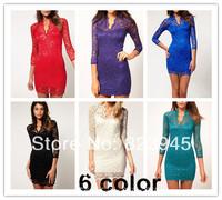 Z&C women dress 2014 Fashion elegant  V-neck tube top lace one-piece dress cheap sexy club dresses free-shipping