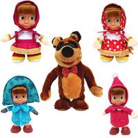 22cm Russian walking repeat talking Masha Music Dolls plush Toy masha and bear cartoon For Kids Baby Girls Russia Unique Gifts
