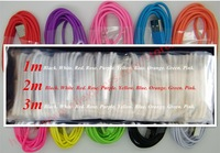 200pcs/lot Colorful 1m USB 2.0 Charging data sync cable for iPhone 5 5c 5s 6 plus This price for A quality free shipping by DHL