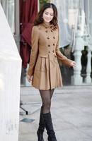 2014 New Fashion Women Woolen Coat Winter Long Coat Double Breasted Slim Outwear Dropshipping 19331