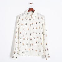 Girls cute chiffon owl prints turn-down collar long sleeves shirts button closure regular blouse 215122