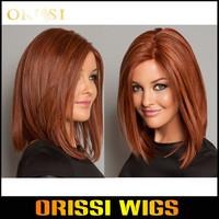 Wigs Red Wine Kanekalon Synthetic wigs Medium  Bobo Burgundy Hair Wigs for Women U Part Wigs