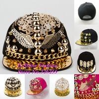 wholesale snapbacks hats new design gold spiked rivets wings shaped hip hop men snapback caps brand women hiphop baseball cap