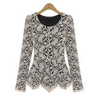 NEW Semi Sexy Sheer Long Sleeve Embroidery t shirt Floral Lace Crochet Tee T-Shirt Top shirt  Casual Dress S-XXXL