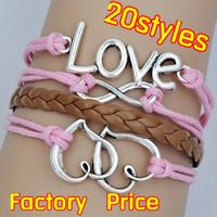 (Minimum order $5,can mix) Antique Love Heart to Heart Infinity Bracelet Friendship Bracelet Blessing Bracelet