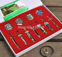 Legend of Zelda Metal Shield Sword Blade Weapon  box /11pcs Necklace / Key chain / Free shipping