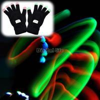 New Arrival Novelty LED Rave Flashing Gloves Glow 7 Mode Light Up Finger Lighting Black TK1142
