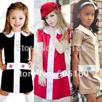 girls dresses for party summer new 2015 Cross collar red black beige kids clothes fantasia vestidos infantis meninas vestir