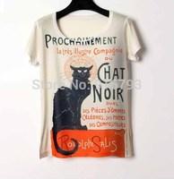 Womens Tops Fashion 2014 Punk Rock T-shirt 3D Printed Short Tshirt Tops For Women Blouses Black Cat Camiseta Feminina