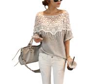 3945 New 2014 sweet lace cutout shirt women handmade crochet cape collar batwing sleeve blouse medium-long t shirt Free Shipping