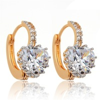 New Christmas Gift Womens Jewelry Prong-Set Peach Love Heart Clear Cubic Zirconia CZ 18K Yellow Gold Plated Hoop Earrings