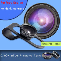 1PCS Free shipping High quality cell phone universal Clip 0.65X  wide angel lens + 10x macro lens 2 in 1  lens