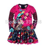 New 2014 Spring Floral Print Girls Dress France Designer Clothing Girl Fashion Brand Children Dresses Flowers Kids Girls Clothes