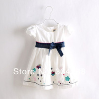 2014 Summer Hot White Summer Dress for Girls Fashion Brand Girl Dress Comfortable Cotton Designer Children Dresses Kids Wear
