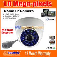 Hot sale 1280*720 Resolution 1 Megapixel HD IR-CUT dome webcam IP Camera Indoor Plug &Play 48units IR LEDs Free shipping