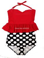 women rose DOT biquini vintage high waisted bikini retro swimsuit  swimwear push up sexy low cut top high waisted bathing suits