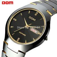 Free shipping Watch dom male watch double commercial tungsten steel vintage rhinestone waterproof machinery mens watch