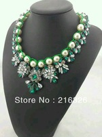 Free shipping fashion women White pearl weave chains emerald clear rhinestones pendant luxury flowers statement chokers necklace