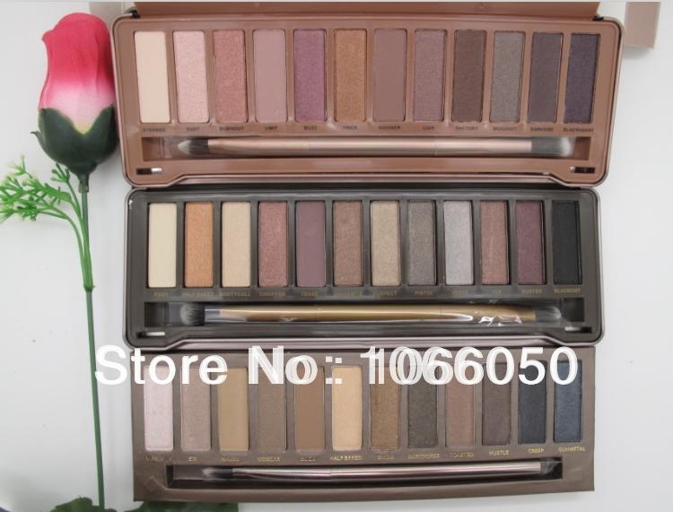 wholesale 3pcs/lot 2014 New Arrival Nake 1 2 3 Palette 12 Colors Pigment Glitter Eyeshadow EYE SHADOW palettes blush makeup(China (Mainland))