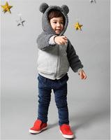 Wholesale 2014 winter boys and girls children's coat bear Coral velvet coat kids hooded jacket ((BGW-292))