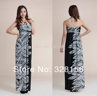 2014 Long/Maxi Beading Strap Summer Casual Dress Women Dress feather print dress Plus size XL FreeShipping