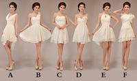 2014 new cheap champagne colored short chiffon bridesmaid dresses under $50