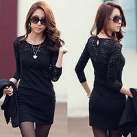 2014 Women's Black Long-sleeve Mini Lace Dress Autumn And Winter Elegant Plus Size One-piece Party Dress Female Casual Dress