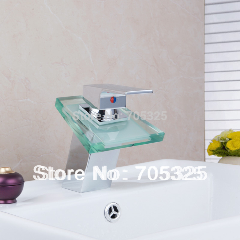 Good Sale Simple Waterfall 3 Color LED Single Handle Chrome Brass Bathroom basin Mixer Tap Faucet AD1135(China (Mainland))