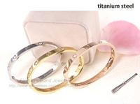 Luxury Brand Replica Screws with/without Crystal Imitated Diamond Bracelet Bangle Titanium with Screwdriver Men Women Acessories