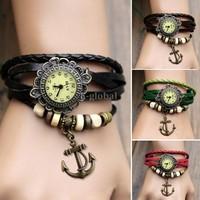 High Quality New Women Dress Leather Wrist Watch Bracelet Retro Vintage Anchor Pendant Weave Wrap Quartz Watch sv18 19173