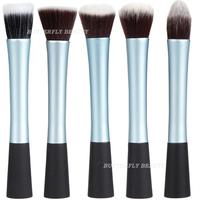 2014 New Pro Powder Blush Brush Cosmetic Stipple Foundation Blue Brushes Comestic Tool