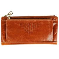 women leather genuine purse oil waxing cowhide wallet for women long designer multi-card wallet holder