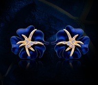 New 2013 Fashion Jewelry 18K Gold Plated Crystal Blue Flower Starfish Cocktail Clip Earrings Ear Cuff Free Shipping E00117