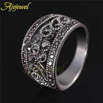 Размер 6-9 Модный Jewelry Silver Plated Черный CZ Flower Vintage Retro Ring Женщины