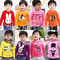 New 2014 t-shirts, cotton long sleeve children t shirts, animal cartoon t-shirt, candy color bottoming t shirt, nova kids