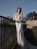 2014 Latest Trend Top Selling Country Western Long Sweep Train Mermaid Open Back Ivory  Inbal Dror Wedding Dress Dresses