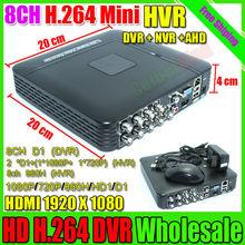 mini dvr 8ch Hybrid-NVR recorder dvr full d1 onvif p2p Cloud recorder dvr hd1920*1080 videoaufzeichnungssystem versandkostenfrei(China (Mainland))