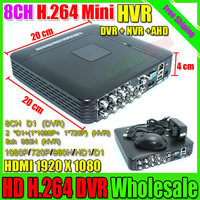 Mini DVR 8CH Hybrid NVR DVR Recorder Full D1 Onvif P2P Cloud DVR Recorder HD1920*1080 Video Recording system Free Shipping