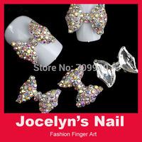 Free shipping 20pcs 17*13MM 3D nail art bows , DIY metal bowtie decoration  with shining rhinestones Item No.13122502
