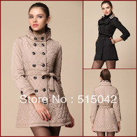 B 2013 autumn and winter wadded jacket british style women's dimond plaid medium-long wadded jacket