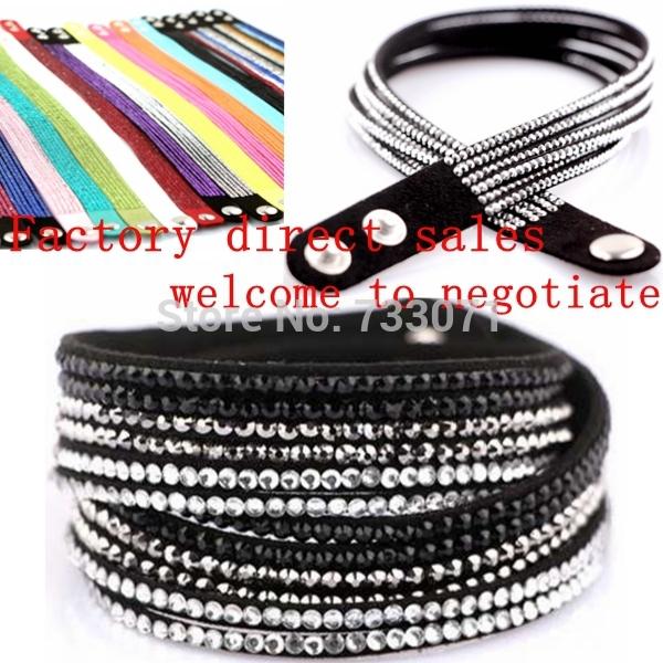 Großhandel 10pcs/lot mischen armband mit bling Unterschied farbe handgemachte neue strass bling kristall mode wickelarmband-650038