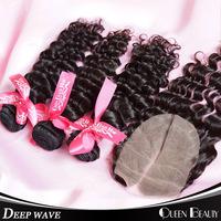 Brazilian Curly Virgin Hair,1 Piece Lace Top Closure with 3Pcs Hair Bundle,4pcs/lot,Brazilian Deep Wave,Shipping Free By DHL