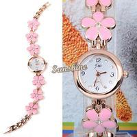 Dropshipping 10pcs/lot Fashion Wrist Watch Women's Girl Sweet Gift Quartz Watch Daisies Flower Rose Gold Bracelet Watch 19753